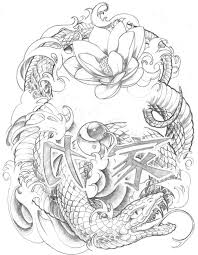 japanese snake with lotus flowers and hieroglyphs tattoo design by
