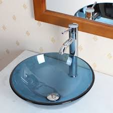 bathroom clear blue glass vessel sink u0026 chrome faucet combo for