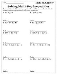 algebra 1 and 2 worksheet autumn algebra i solving inequalities