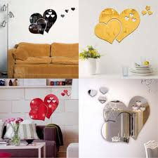 compare prices on decorative wall mirrors online shopping buy low 5pc set heart shaped mirror wall stickers three dimensional living room bedroom wedding