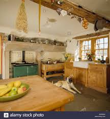 boxer dog in country kitchen with pine table and wooden units and
