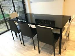 glass extending dining table extendable toronto habitat black