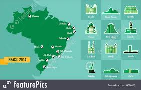 Rio On Map Landmark Brazil Map Silhouette Icon Illustration