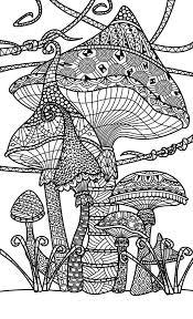 mushroom toadstools zentangle coloring mushrooms