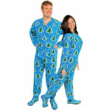 trees and snow footed pajamas with drop seat