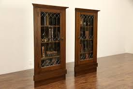 Corner Cabinet With Glass Doors Sold Pair Arts U0026 Crafts Mission Oak 1905 Antique Corner Cabinets