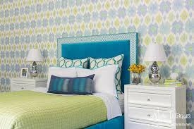 Bedroom Blue And Green Sapphire Blue Velvet Headboard With Green And Blue Bedding