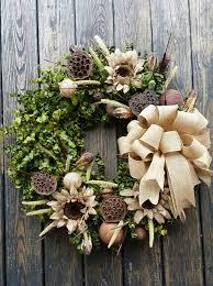 wreath 30 inch dried flower wreath eucalyptus wreath