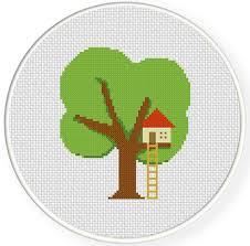 tree house cross stitch pattern daily cross stitch