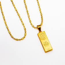 mens necklace pendant images Golden iced out bar shape pendant hip hop beads link chain jpg