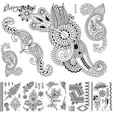 6 sheets temporary body art tattoo sticker flower lace design