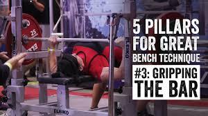 powerlifting bench press grip width bench pillar 3 gripping the bar jtsstrength com youtube