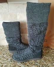 womens knit boots size 11 ugg australia black the knee twisted cable knit boots size 8