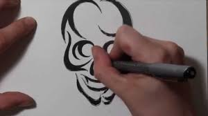 finger tribal tattoos how to draw a tribal skull tattoo design youtube