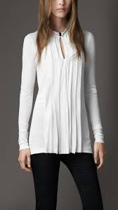 pleated blouse lyst burberry pleated keyhole blouse in white