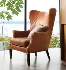 Orange Chair by Clinton Modern Wingback Italian Leather Chair With Nailheads