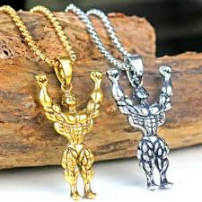 man charm necklace images Silver gold color alloy strong man charm pendant necklace jpg