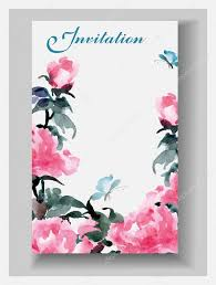 Wedding Invitation Card With Photo Wedding Invitation Cards With Watercolor Blooming Peonies And With