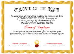 impressive employee of the month award and certificate template
