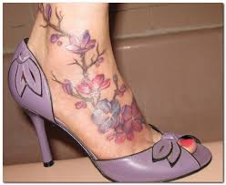 anklet tattoos foot tattoos flower foot tattoo designs photo 4