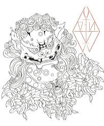 nice foo dog tattoo design by ahoilnk