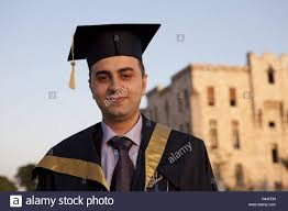 doctoral cap syria aleppo with cassock and doctoral cap stock photo