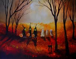 three witches three ghosts and a black cat halloween art