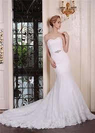 mermaid trumpet wedding dress mermaid trumpet lace wedding dress ruching strapless crystals