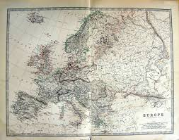 Old Europe Map by 17 Print Johnston Map 1888 Europe France Spain Italy 003g142 Old