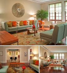livingroom in thsi would be a retro living room because of the bright colors and