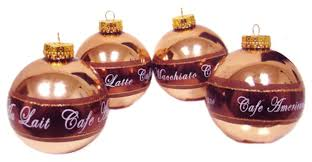 amazon com set of 4 coffee break bronze glass ball christmas