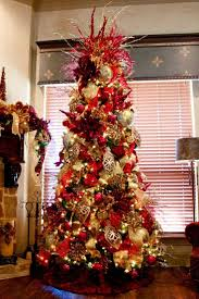 trees decorated in and gold happy holidays