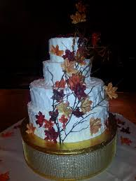 calumet bakery fall leaves wedding cake with custom gold stand
