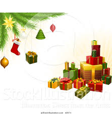 vector illustration of a stack of 3d gifts a tree
