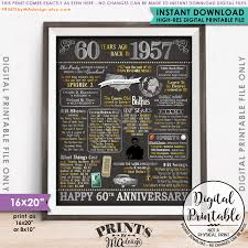 60th anniversary gift 60th anniversary gift 1957 poster 60 years usa flashback instant