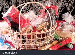 christmas hamper basket chocolate santa cookies stock photo