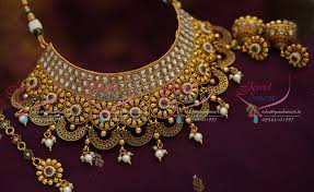 necklace choker design images Ch0974 broad choker necklace antique ad stones grand wedding jpg