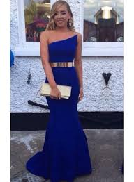 elegant royal blue mermaid evening dress with gold belt prom