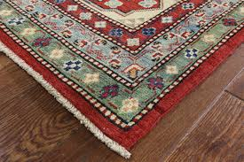 Red Turquoise Rug Unique Bold Red Diamond Motif 10x14 Super Kazak Hand Knotted Wool