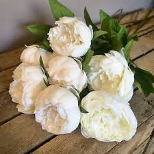 artificial peonies bunch of 7 faux silk ivory peonies white artificial