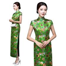 spring green brocade qipao traditional chinese floral dress u2013 red