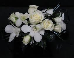 black and white corsage memorial city florist teleflora florist houston flower