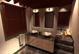 beige bathroom themed with window blinds and engaging marble