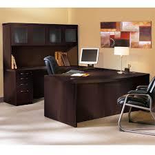 mayline at5 aberdeen executive u shaped desk w glass door hutch