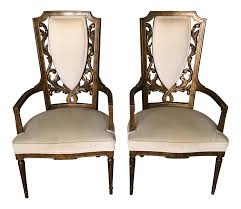 High Backed Armchairs Mid Century High Back Armchairs A Pair Chairish