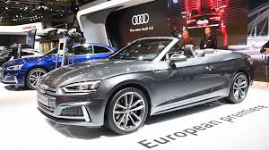 audi s5 cabriolet convertible luxury car in grey on display during