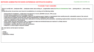 network administrator work experience certificate