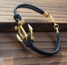 leather gold necklace images Anchor bracelet antique gold jewelry for men quality black wax jpg