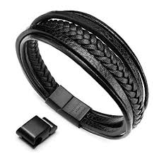 leather black bracelet images Murtoo mens cowhide leather braided bracelet magnetic clasp multi jpg