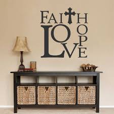Bedroom Wall Stickers Sayings Faith Hope Love Wall Decal Religious Quote Vinyl Lettering